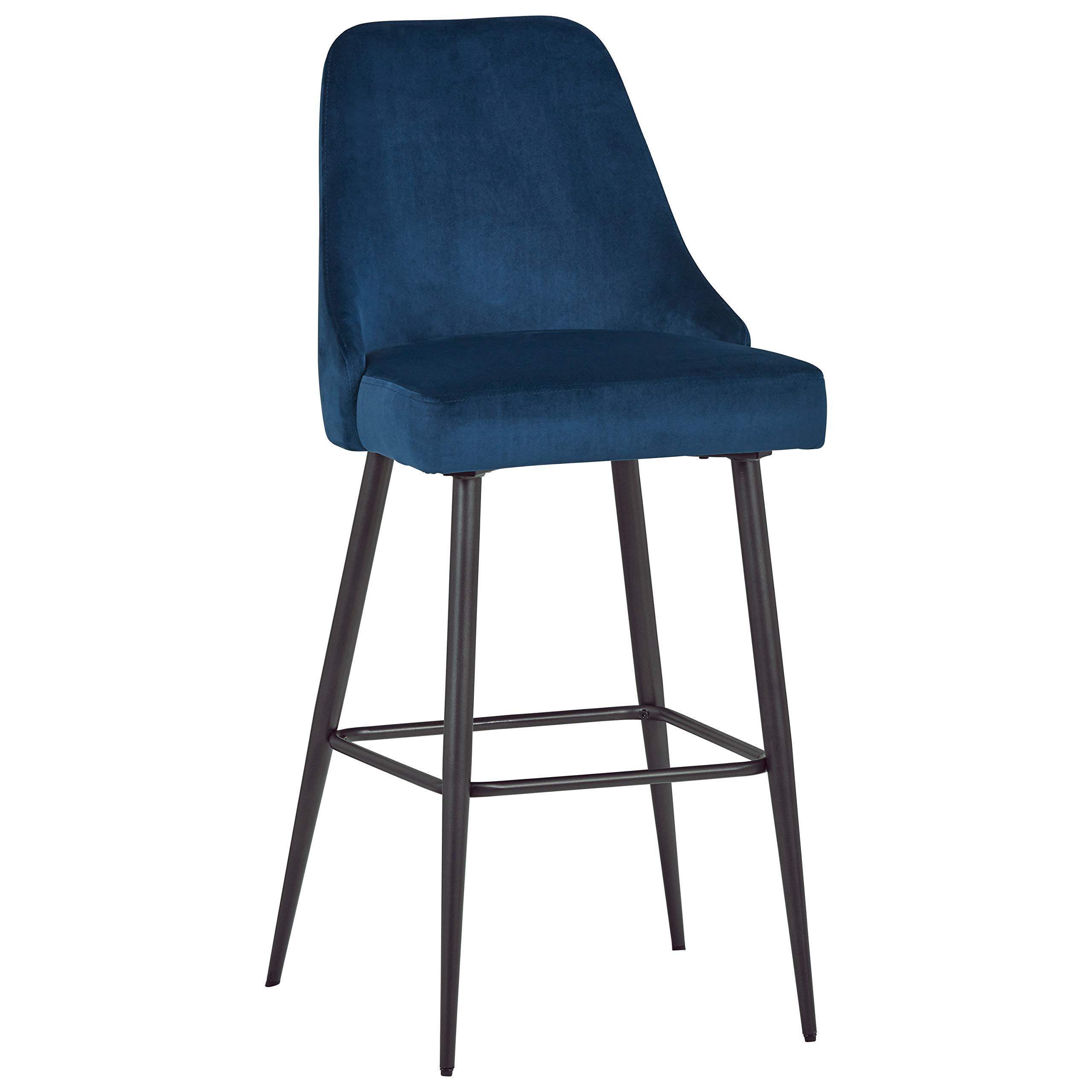 Rivet Modern High-Back Barstool, Set of 2, 43.5''H, Blue by Rivet