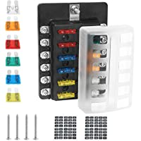 RV Henzxi 12 Circuit Blade Fuse Block with Negative Bus LED Indicator Waterproof Fuse Box for 12-24V Auto Truck Marine Car Fuses Included Boat