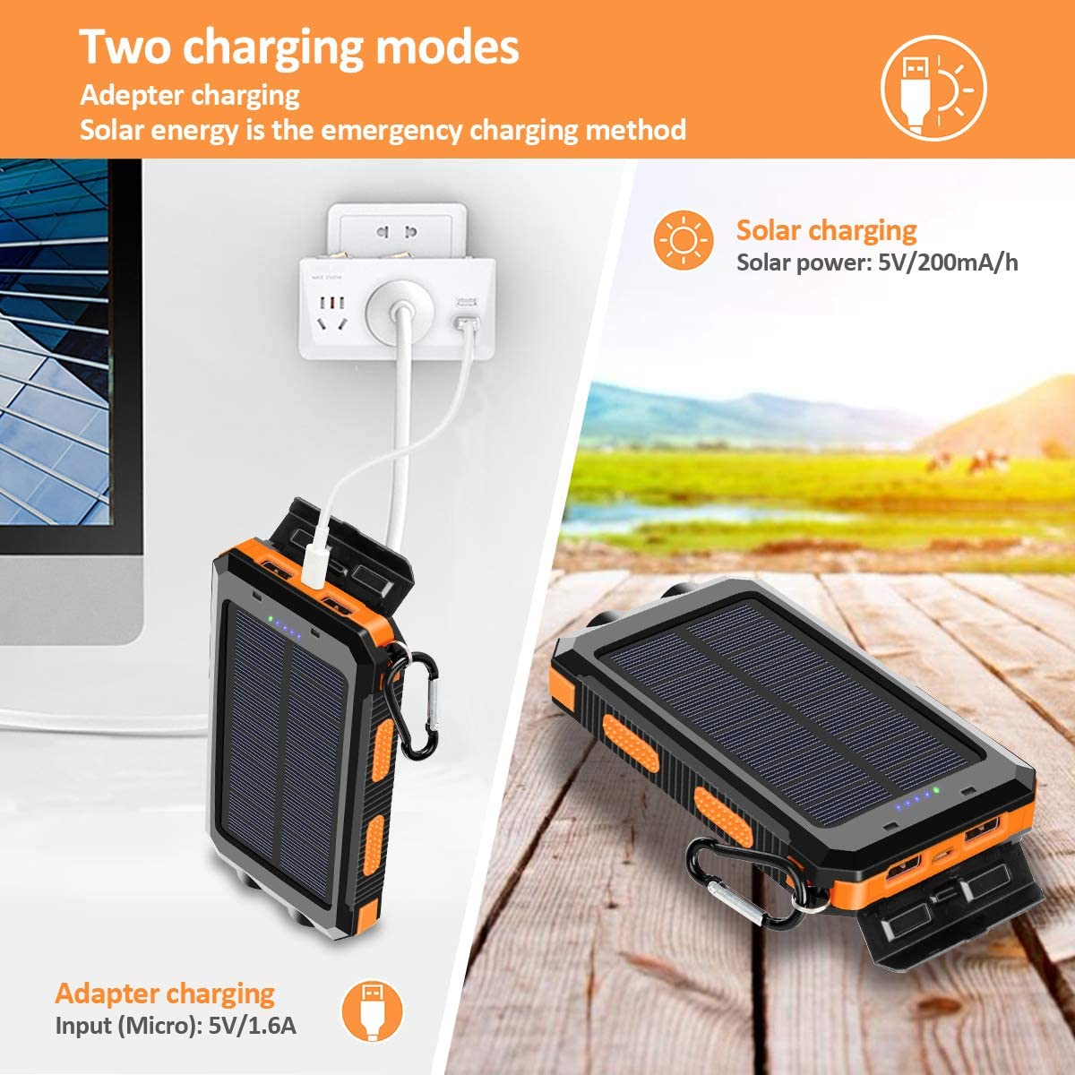 Suscell 20000mAh Portable Outdoor Waterproof Solar Power Bank 2 Led Light Flashlight with Compass for iOS Android Orange Solar Charger Camping External Backup Battery Pack Dual 5V USB Ports Output
