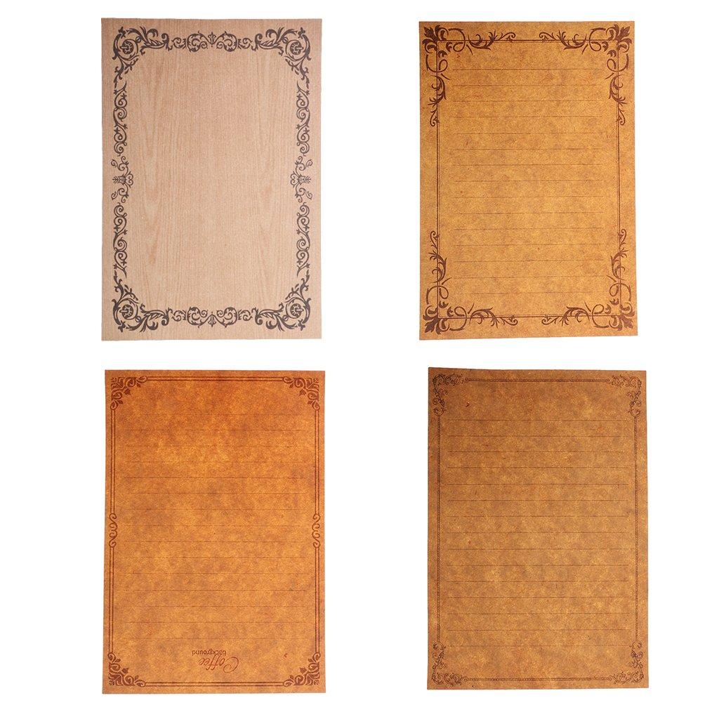 MagiDeal Set of 8 Retro Flower Frame Stationery Letter Paper School Writing Paper #1