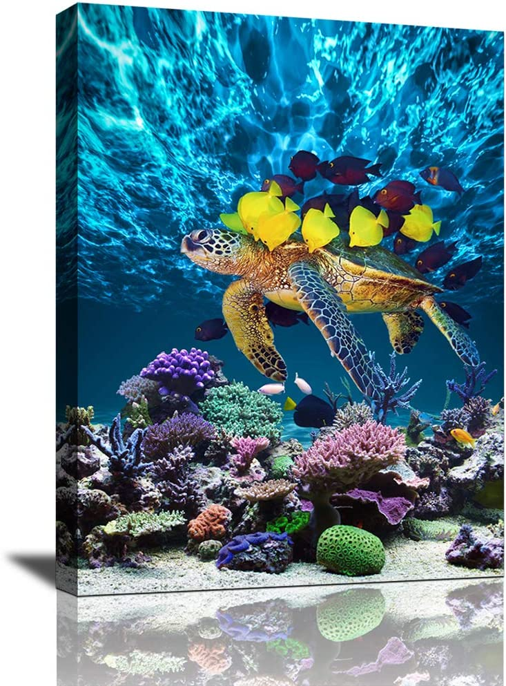Bathroom Canvas Wall Art Kitchen Wall Decor Modern Blue Ocean Sea Turtle Wall Art for Dining Room Colorful Fish Coral Beach Theme Pictures for Bedroom Framed Wall Decor