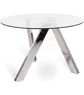 Tavolo rotondo, in vetro, stile 100 cm, piano in vetro trasparente ...