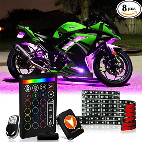Led Lights For Motorcycle >> Amazon Com Screamfox 8pcs Motorcycle Led Light Kit Strips Multi