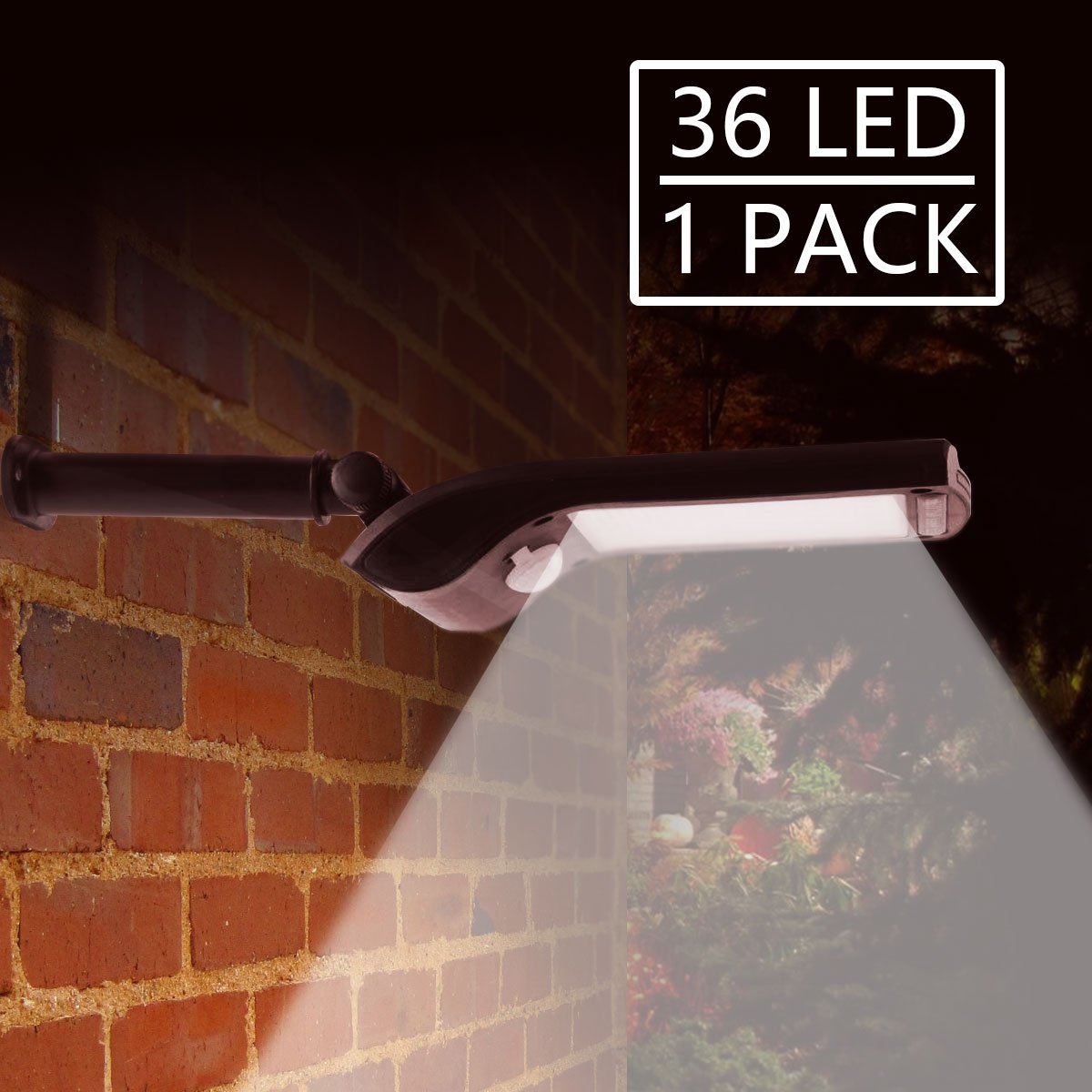 Solar Lights Outdoor with Rotatable Mounting Pole, 36 LED New Generation Super Bright Solar Motion Sensor Security Lights, Wireless Waterproof Wall Lights for Garden, Driveway, Patio, Yard, Walkway by Luzhy