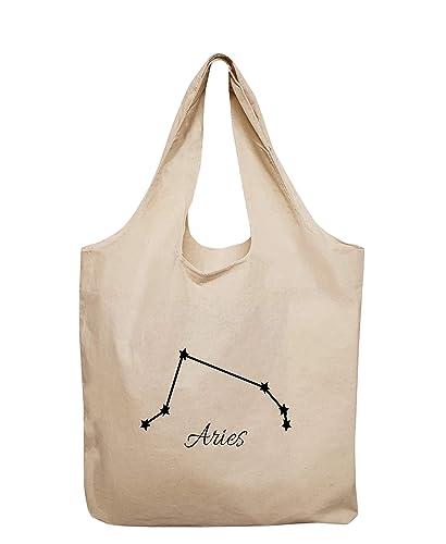 Large Aries Zodiac Organic Tote Bag