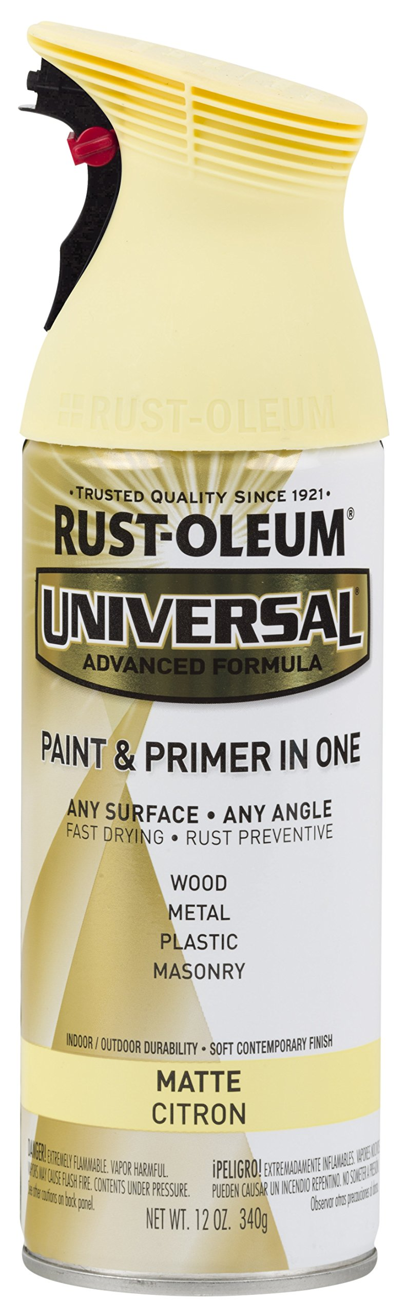 Rust-Oleum 282813-6PK Universal All Surface Spray Paint, 6 Pack, Matte Citron