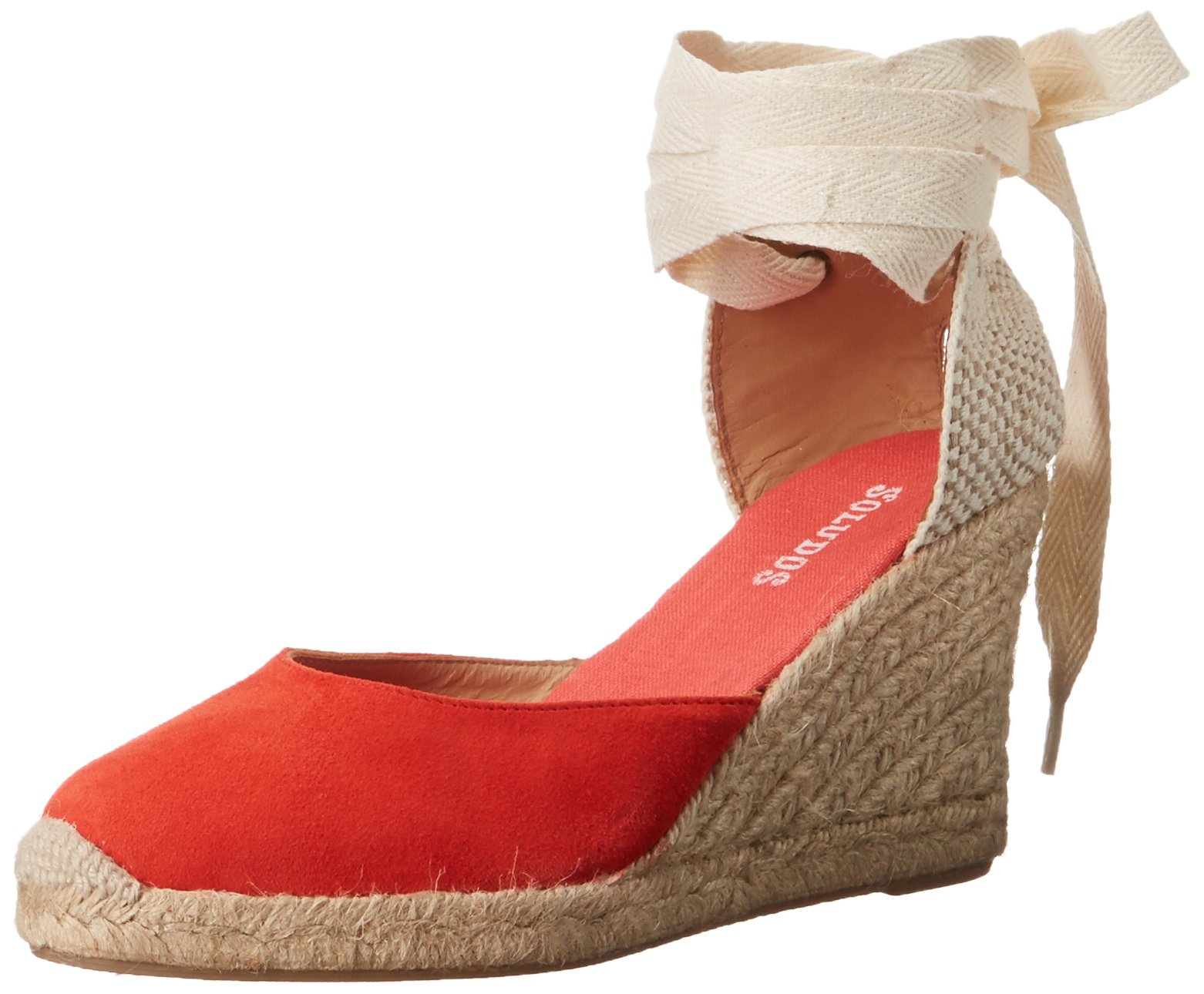 Soludos Women's Tall Wedge (90mm) Flat, Fire Red, 6 B US