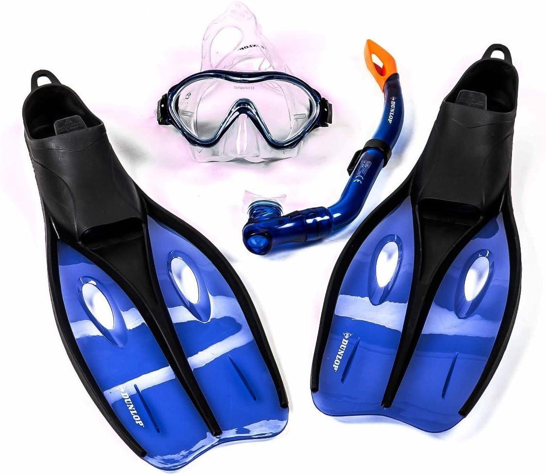 Dunlop Schnorchel+Schwimmflossen+Tauchermaske junior rot Größe 32//34 3-teilig