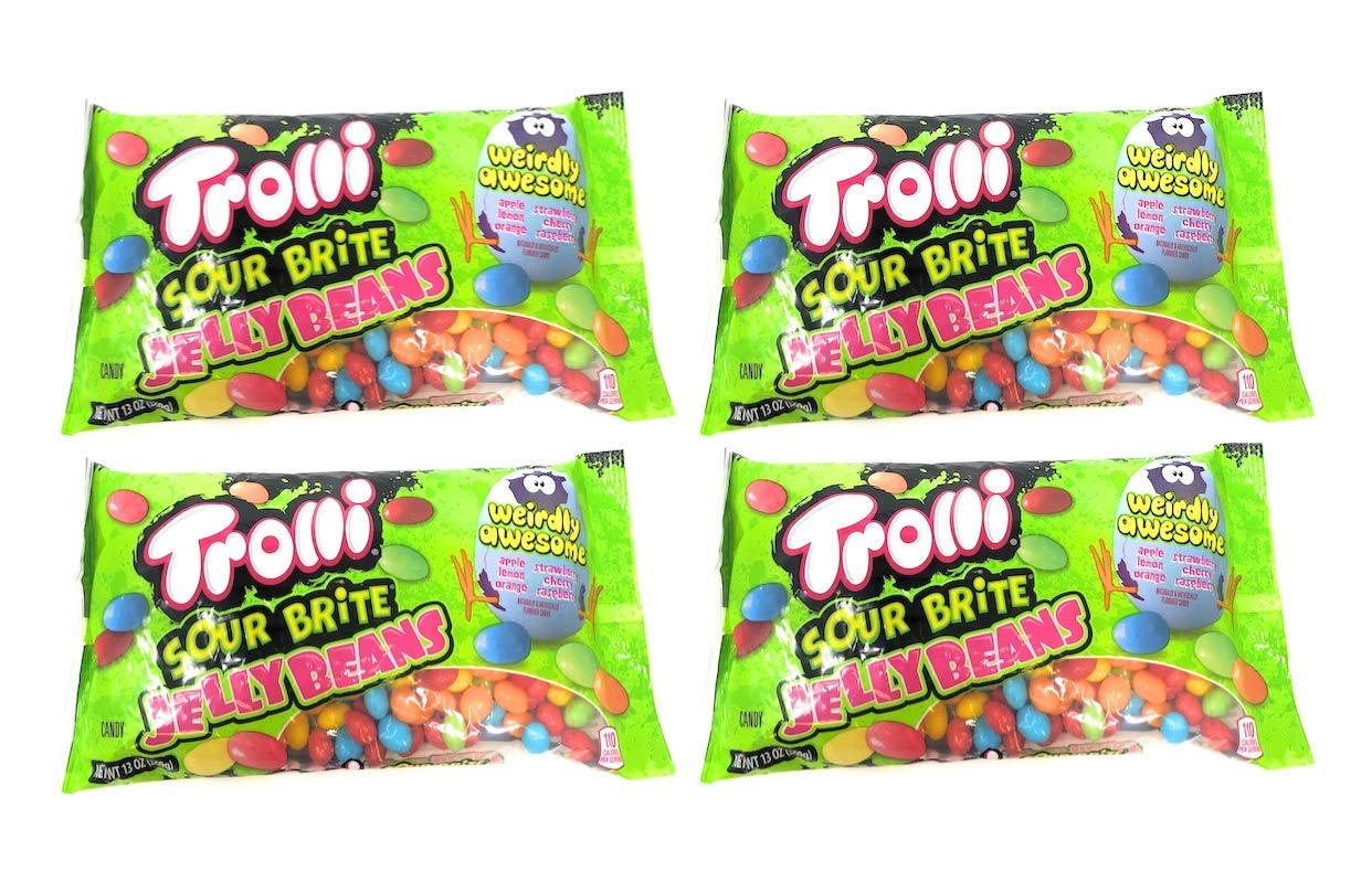 Trolli Jelly Beans Sour Brite Easter Candy - Pack of 4 Bags - 13 oz Per Bag - 52 oz Total of Bulk Trolli Sour Brite Jellybeans - 6 Flavors - Apple, Lemon, Orange, Strawberry, Cherry, and Raspberry