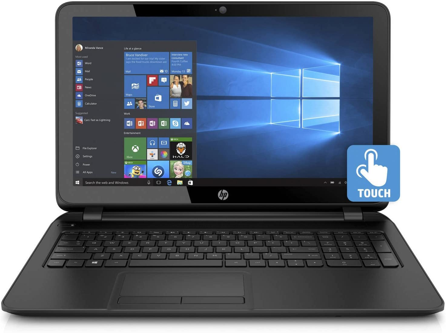 HP 15.6in HD High Performance Flagship Touchscreen Laptop Computer, Intel Quad-Core Pentium N3540 Up to 2.66GHz, 4GB RAM, 500GB HDD, DVDRW, USB 3.0, Webcam, WiFi, Windows 10(Renewed)