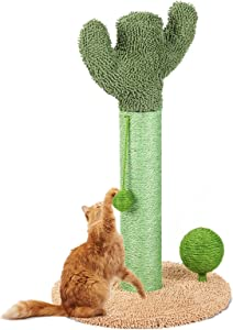 Cactus Cat Scratching Post with Natural Sisal, Protect Your Furniture Cat Scratching Post for Indoor Cats, Scratch Post with Scratch Ball & Dancing Ball & for Kitten and Adults Cats