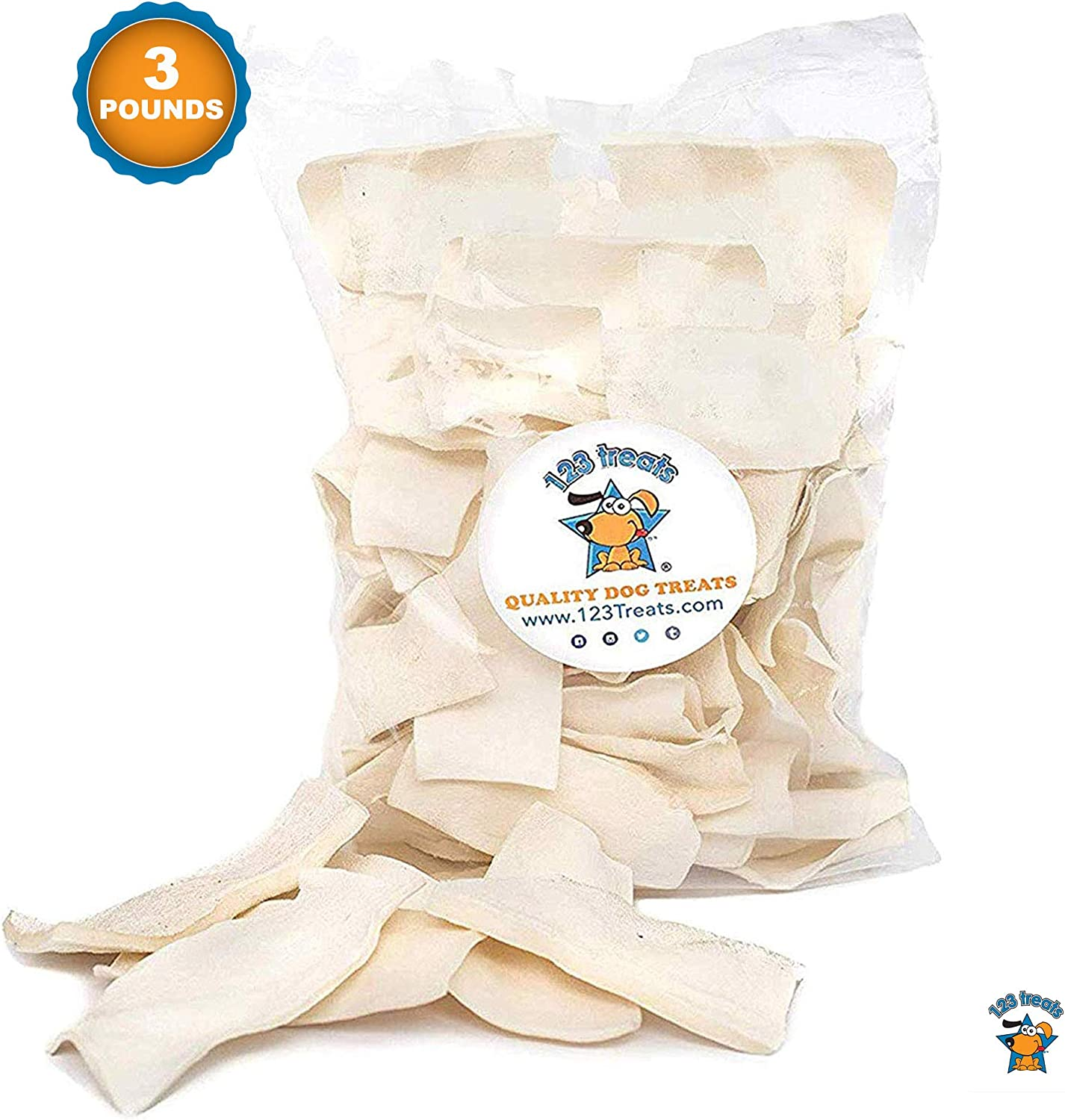 123 Treats - Rawhide Chips Dog Chews | 100% All-Natural Grass-Fed Free-Range Beef Hide for Dogs with No Hormones, Additives or Chemicals 71cTCdeT9zL