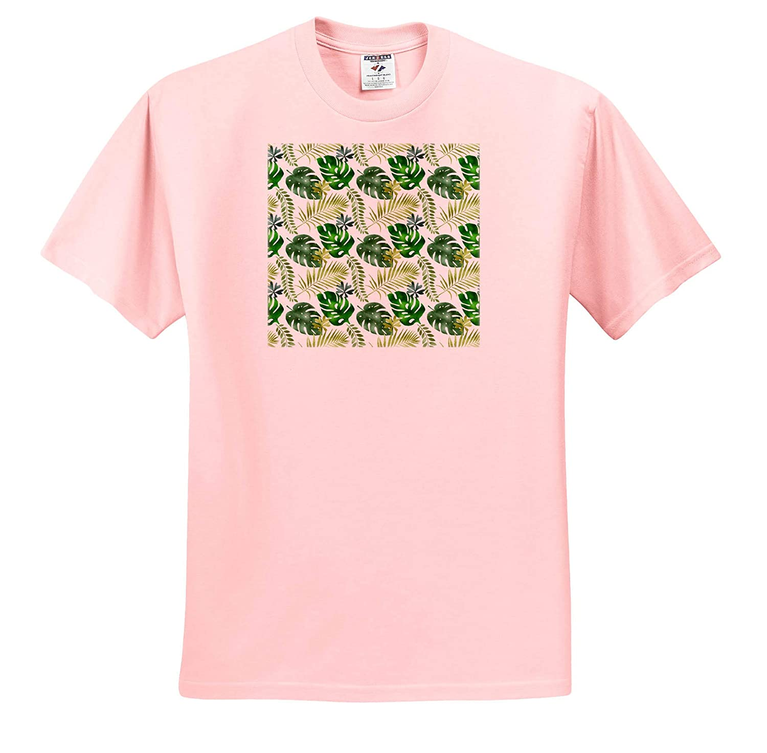 3dRose Anne Marie Baugh T-Shirts Patterns Chic Green Tropical Leaves Pattern