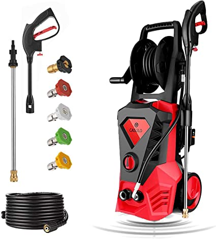 Amazon Com Casulo Electric Pressure Washer Max 3500psi 2 6gpm High Pressure Washer 1800w Electric Power Washer Cleaner W Rolling Wheels Hose Reel 5 Interchangeable Nozzles Spray Gun 10m Hose Garden