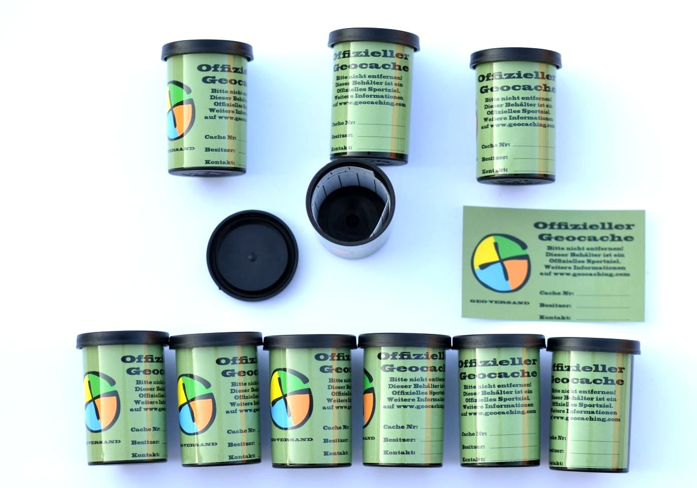 Geocaching Containers Set with 10 Film Canisters, 10 Waterproof Log Strips, 10 Container Stickers, Rite in the Rain