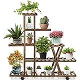 Telfun Plant StandIndoorOutdoor, Plant Display Multi Tier Flower Shelves Stands, Wooden Plant Display Holder Rack for Livin