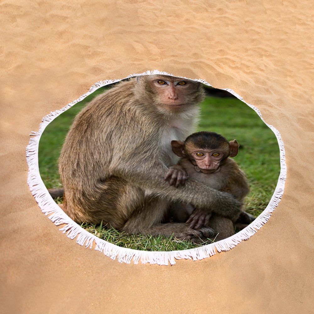 Pixels Round Beach Towel With Tassels featuring ''Macaque Monkey Family'' by Adam Romanowicz by Pixels