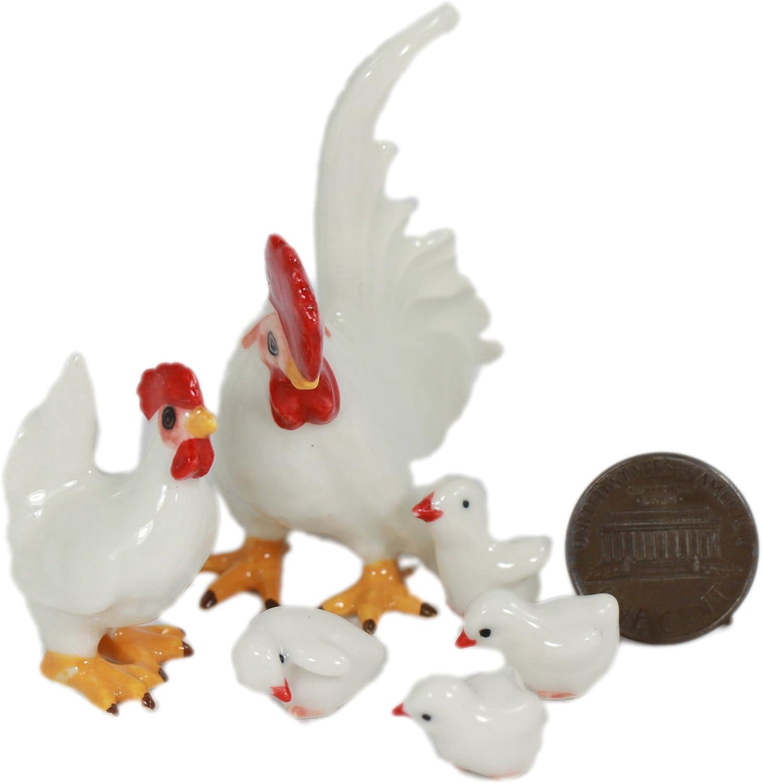 ceramic figurine rooster chicken hen mini  collectible animal craft farm bantam