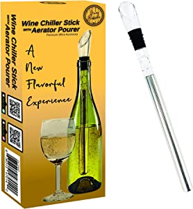 Guay Bebida Wine Chiller Stick and Aerating Pourer - In Bottle Wine Cooler Chilling Rod with Aerator Pourer - Premium Wine Accessory for Iceless Chilled Wine – Cool Gift for Wine Lovers