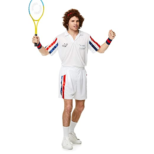 Karnival-1980s Tennis Player Kit Disfraz, Color blanco ...