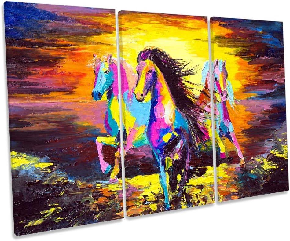 Canvas Geeks Cuadro de Caballos con diseño Moderno de Atardecer, Multicolor, 120cm Wide x 80cm High