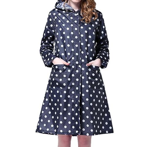 LAEMILIA Women's Long Dot Print Waterproof Raincoat Rainwear Rain Jacket Wind Coat