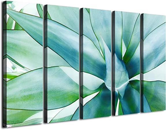 Large Wall Art Green Agave Leaves Canvas Prints Decor Tropical Plant Wood Framed Printing D Cor Posters Modern Contemporary Artwork Painting Office Homes Decorations Ready To Hang 5 Panel 60 Inch Tota