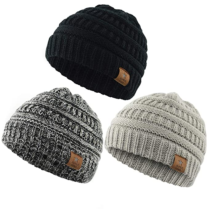 Durio 0-2 Years Warm Winter Baby Beanies for Boys Girls Soft Thick Cozy Knitted Toddler Infant Winter Hat Babies Caps 3 Pack Black & Light Grey & Black White best toddler stocking stuffer
