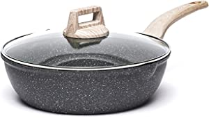 Carote 3 Quart Nonstick Saute Pan Deep Frying Pan with Cover Non-Stick Jumbo Cooker Granite Stone Coating