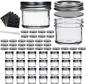 YEBODA Glass 4oz Small Mason Jars with Lids(Silver) For Honey,Jam,Jelly,Baby Foods,Caviar,Herb,Wedding Favor,Shower Favors,DIY Magnetic Spice Jars For Kitchen,Dishware Safe 30 Pack