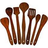 ITOS365 Handmade Wooden Serving and Cooking Spoons Wood Brown Spoons Kitchen Utensil Set of 7