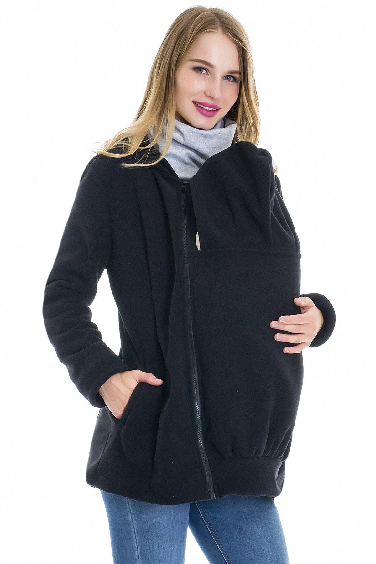 Smallshow Womens Fleece Maternity Baby Carrier Sweatshirt Jacket Large Black by Smallshow