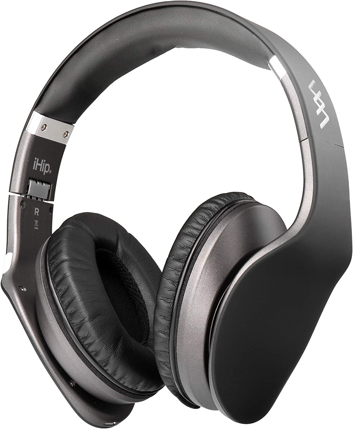 iHip Side Swipe Touch Control Wireless Bluetooth Headphones Over Ear - Foldable, Soft Memory-Protein Earmuffs, w/Built-in Mic and Wired Mode for PC/Cell Phones/TV - Black - Touch Only + Knob