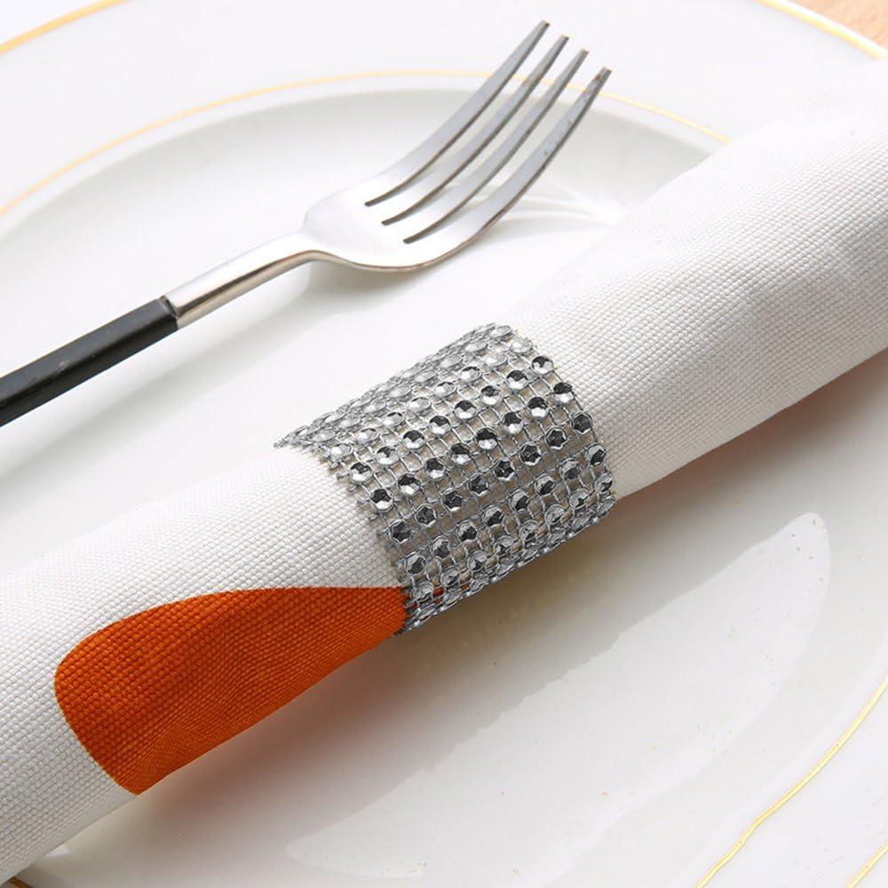 Anillos para servilleta con diamantes de imitaci/ón brillantes para decoraci/ón de bodas y fiestas plata