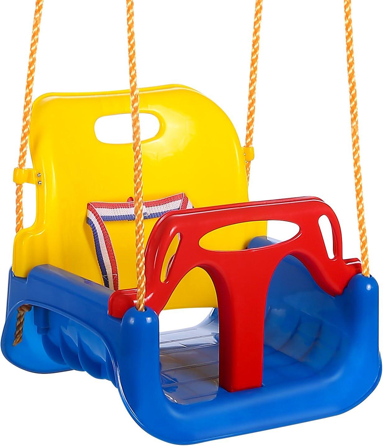 OUTCAMER Columpio Infantil Columpio 3 en 1 con Respaldo y Protección Frontal Desmontable para Seguridad con Cuerda de 2M para Niños (Multicolor): Amazon.es: Juguetes y juegos