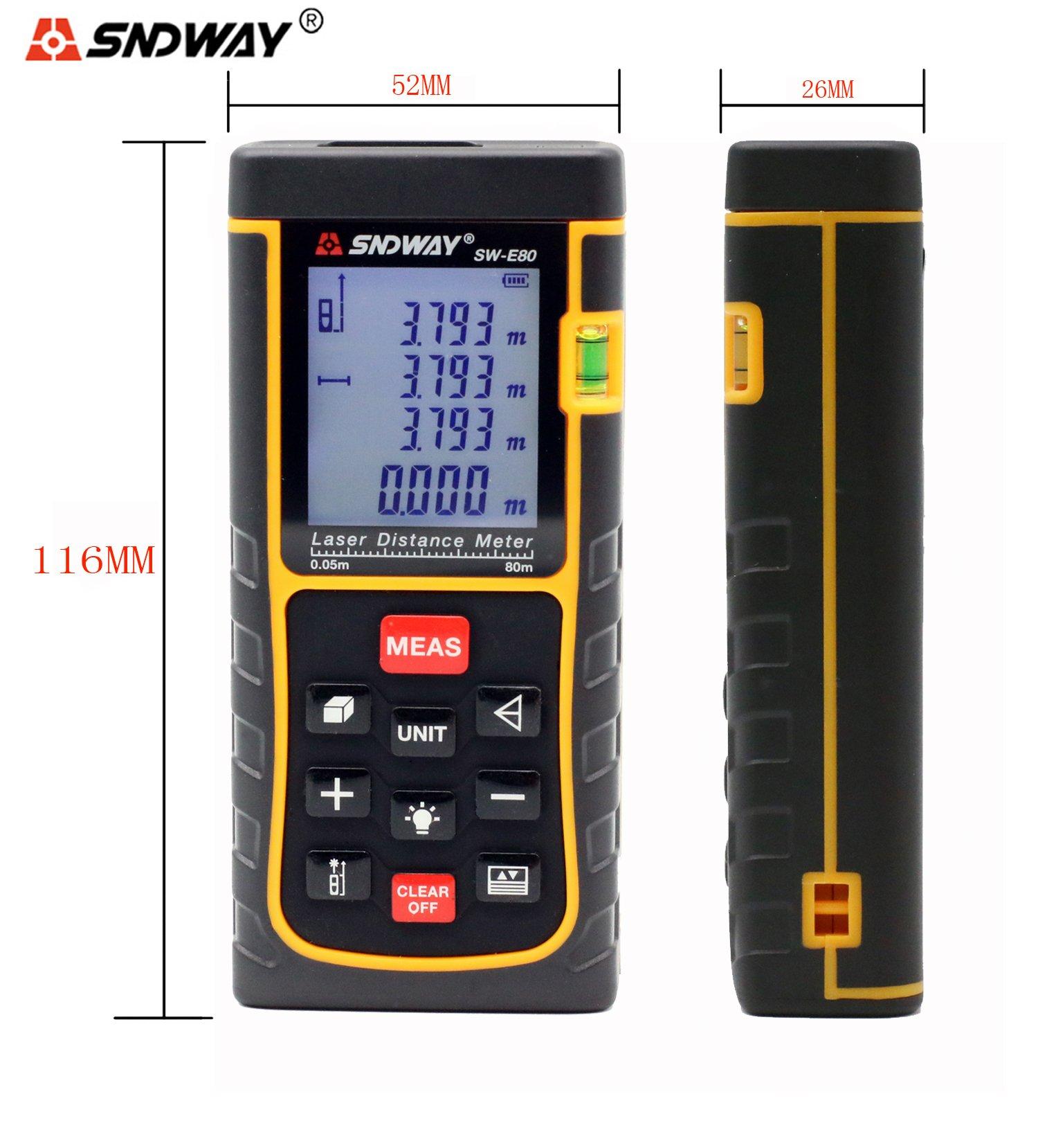 SNDWAY SW-E80 80M 262FT Digital Diastimeter Laser Distance Meter Laser Rangefinder Meter Area Volume Measure Tool