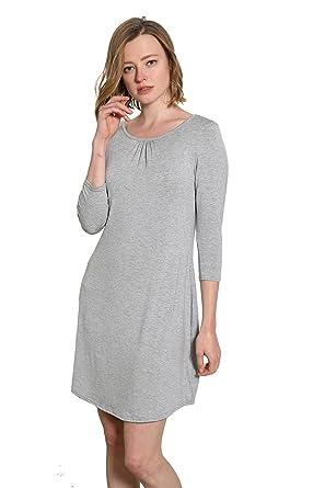 f3872b472e Mamamiya Women Comfortable Long Sleeve Pajama Sleep Shirt Dress Nightshirt  (S