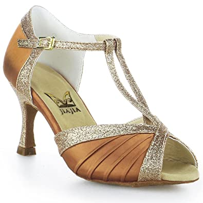 Jia Jia Y20519 Latin Women's Sandals 2 7'' Flared Heel Super Satin with Sparkling  Glitter