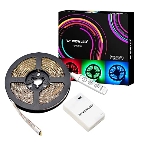 official photos e30a6 e923f WOWLED 1M 5050 RGB LED Light Strip Kit Battery Powered Flexible Strip with  3 Key Mini Controller
