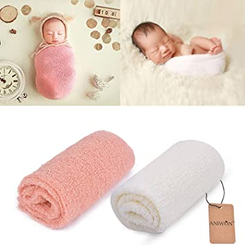 28074667d72 Aniwon 2 Pcs Baby Photography Props Photo Long Ripple Wrap Blanket for  Newborn Pink and White  Amazon.ca  Baby