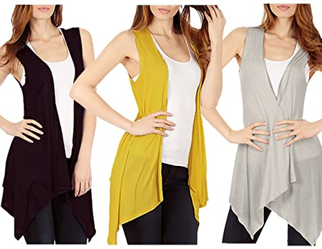 ccd87dd1825c1c 3-Pack Sleeveless Light Weight Flyaway Cardigan Vest with Elastic Detail at  Back - Black