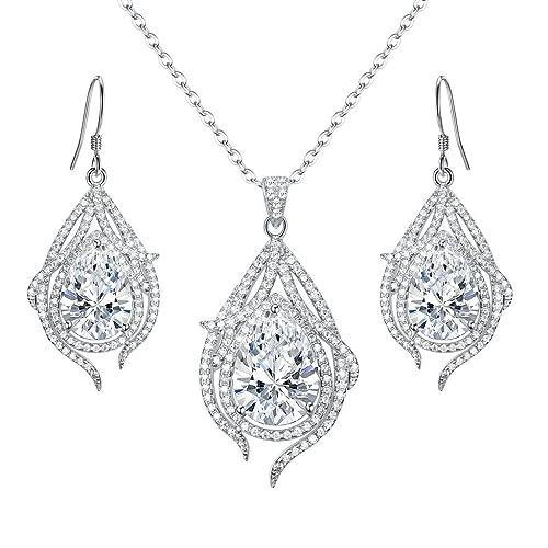 c494df244 EleQueen 925 Sterling Silver Cubic Zirconia Teardrop of Angel Bridal Pendant  Necklace Hook Earrings Set Clear
