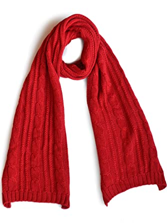 56b6a257ee Oversized Cable Knit 100% Baby Alpaca Men and Women in Red at Amazon ...