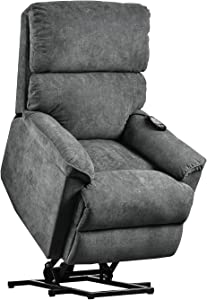 Merax Electric Recliner Chair Lazy Boy Sofa for Elderly, Power Lift Massage and Heat Function for Office or Living Room, Slate Grey