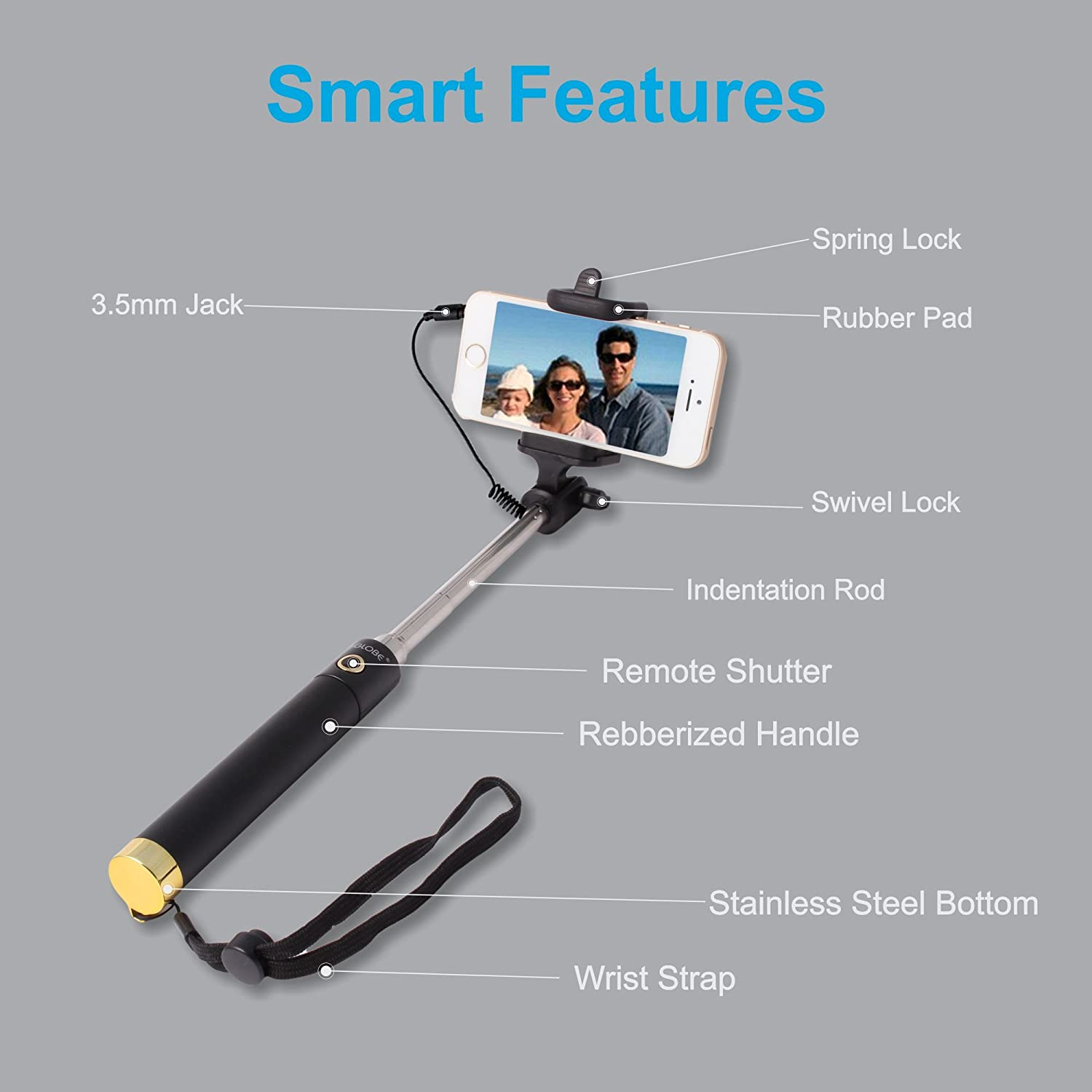 4c4aeee0e6f179 U-GLOBE Extendable Wired Handheld Selfie Stick for all: Amazon.in:  Electronics