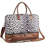 MyMealivos Canvas Weekender Bag, Overnight Travel Carry On Duffel Tote with Shoe Pouch