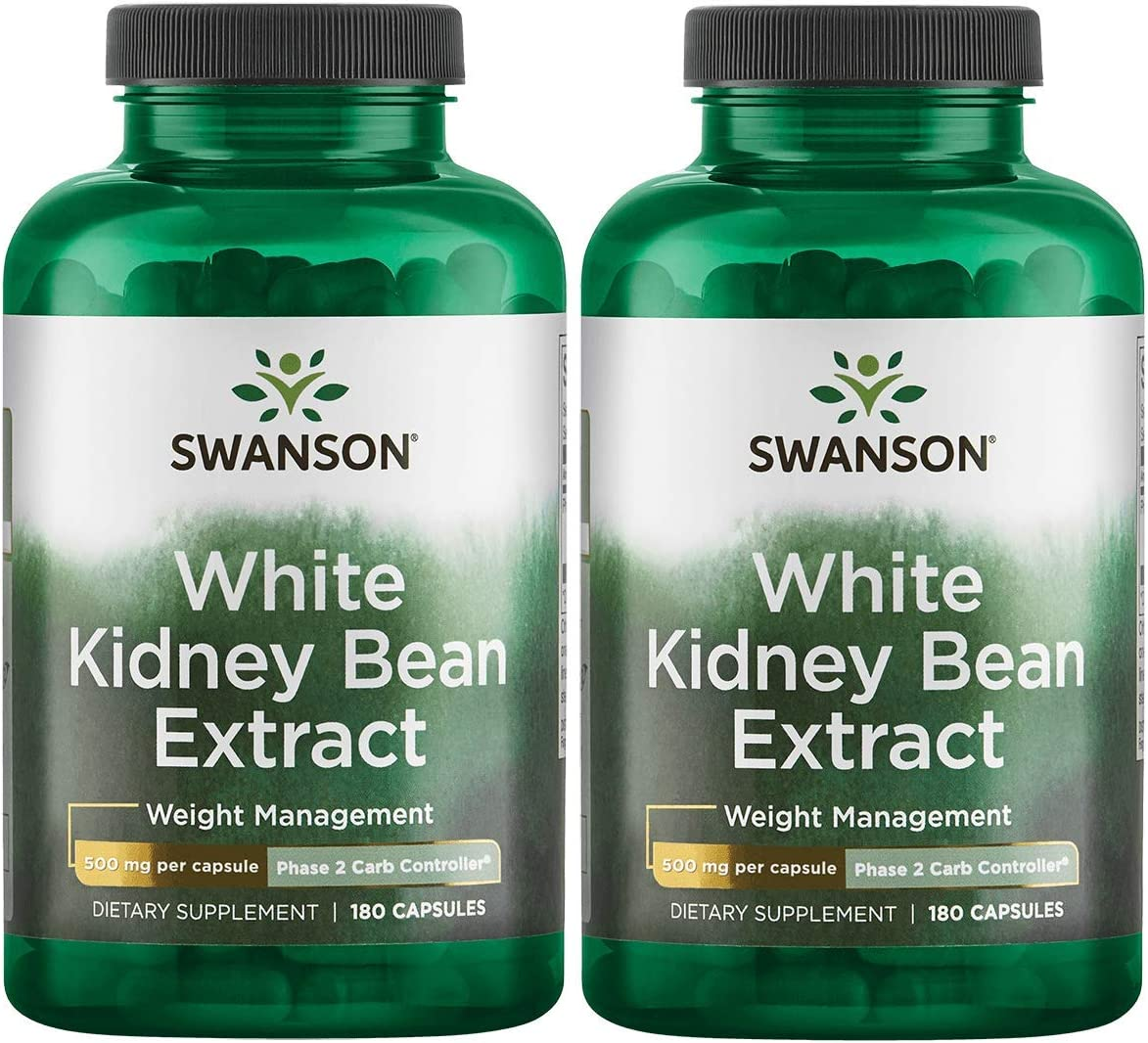 Swanson White Kidney Bean Extract 500 mg 180 Caps 2 Pack