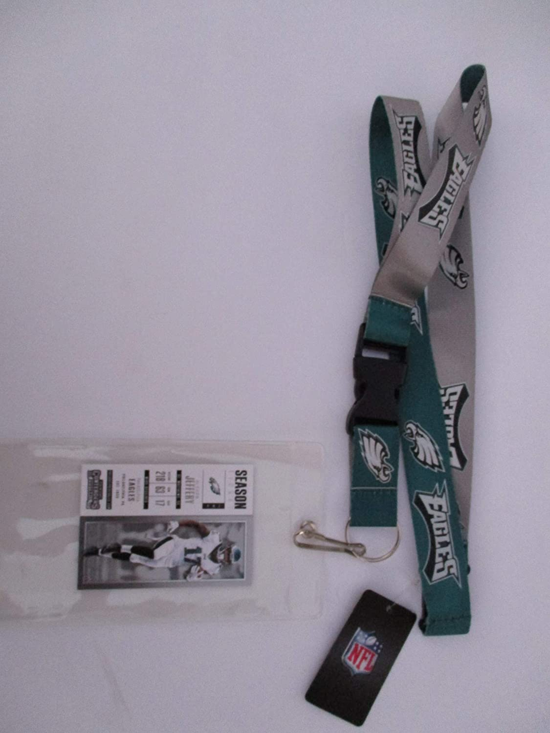 PHILADELPHIA EAGLES TWO TONE LANYARD WITH TICKET HOLDER PLUS COLLECTIBLE PLAYER CARD