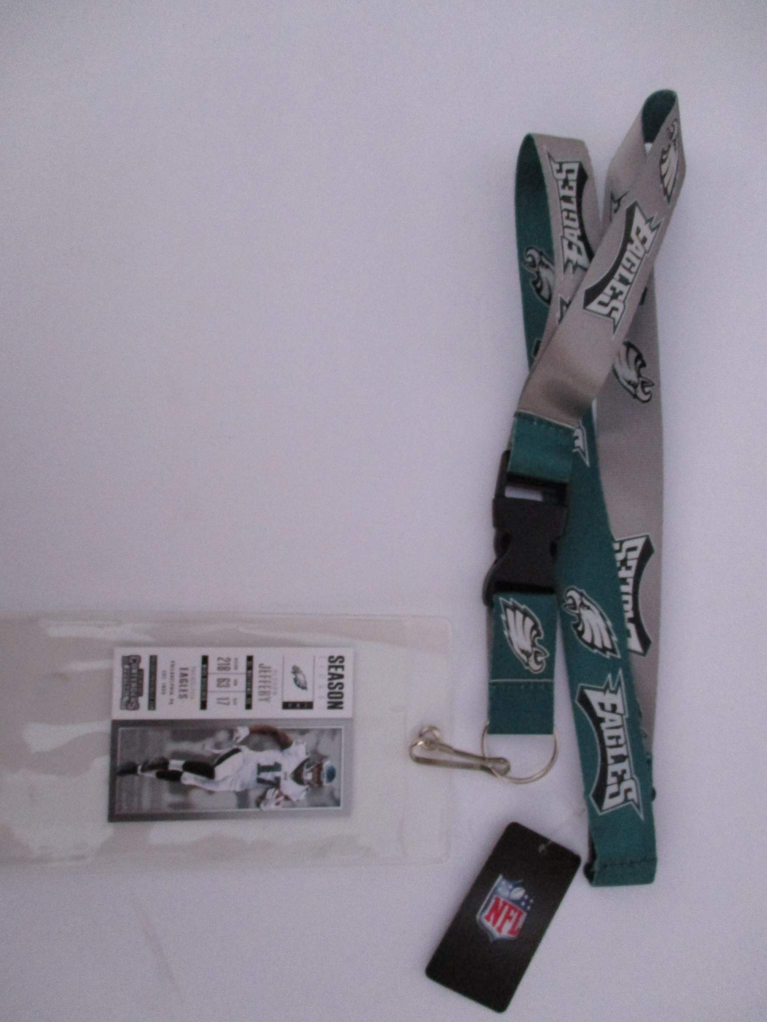 PHILADELPHIA EAGLES TWO TONE GREEN AND GREY LANYARD WITH TICKET HOLDER PLUS COLLECTIBLE PLAYER CARD