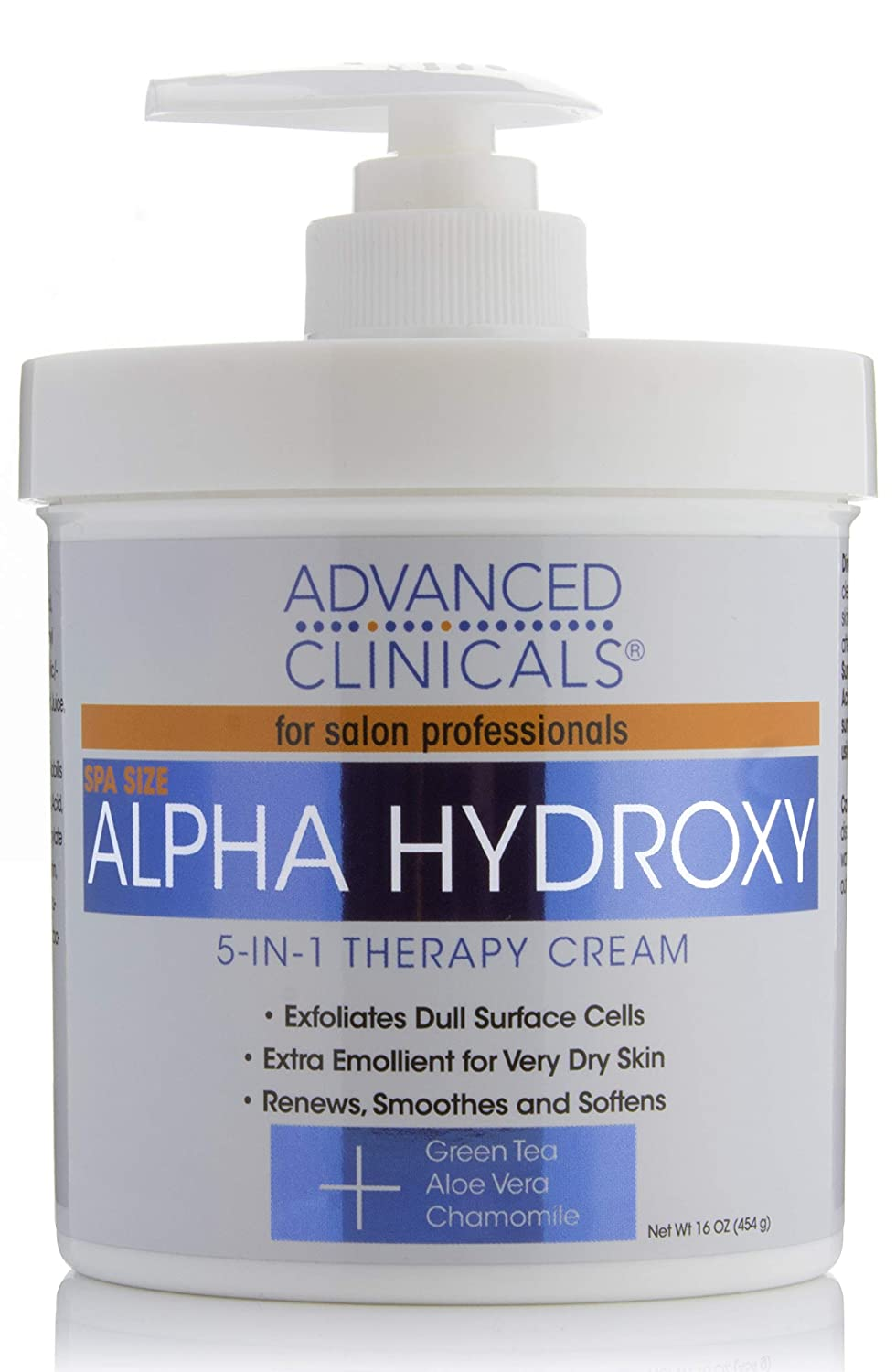 Advanced Clinicals Alpha Hydroxy Acid Cream for face and body. 16oz anti-aging cream with Alpha Hydroxy Acid for wrinkles, fine lines, dry skin. (16oz)